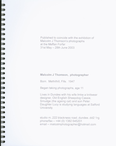 Meadow Mill Studio, Dundee, 2005 Exhibition catalog, Malcolm Thomson