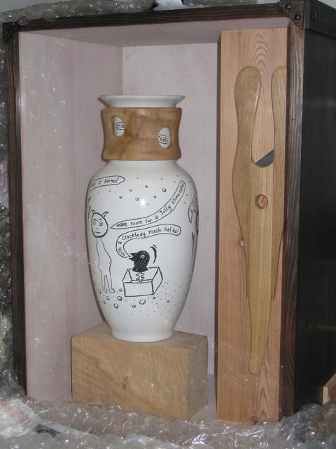 The WASPS Factory, 77 Hansen Street, Glasgow Ceramic and wood vase