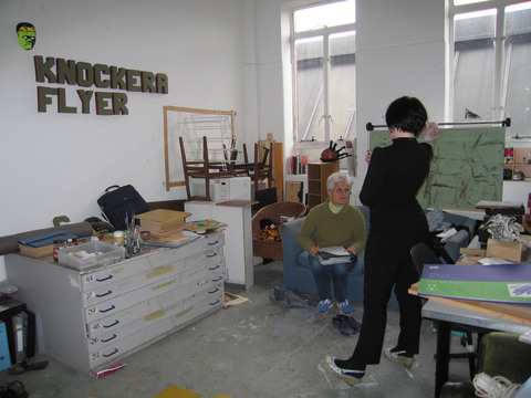 The WASPS Factory, 77 Hansen Street, Glasgow Helen and me in her studio