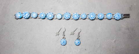 Glass Wear Murano dot bracelet and earring set