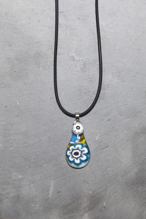 Glass Wear Blue daisy teardrop Mille Fiori pendant necklace
