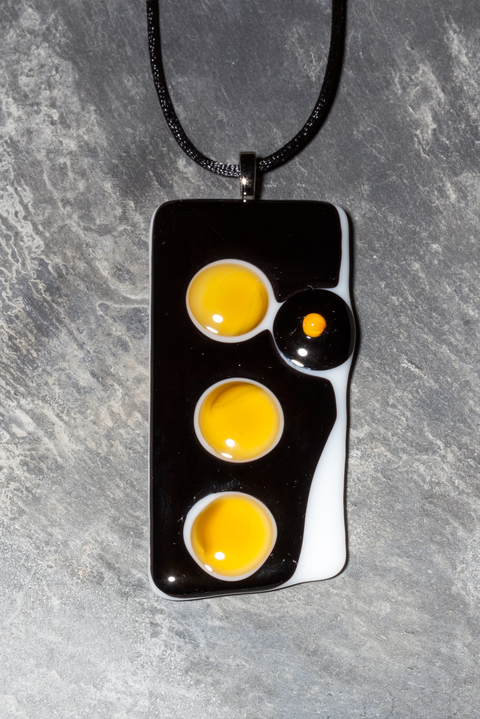 Glass Wear Yellow, black and white large fused glass pendant necklace