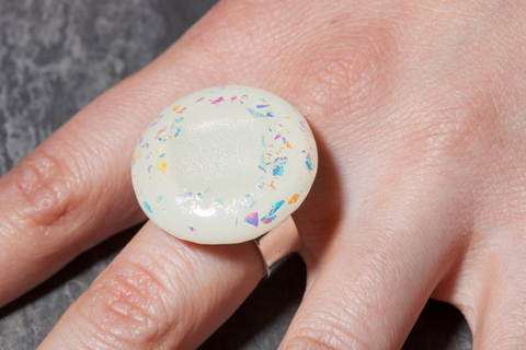 Glass Wear Round fused glass sparkle ice ring