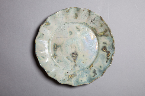 Raku, Pit Fire and Luster ware Luster blue scalloped plate #11