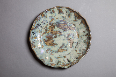 Raku and Luster ware Luster blue scalloped plate #10