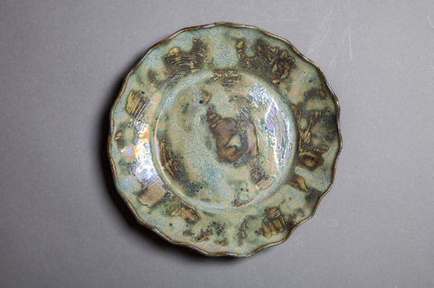 Raku and Luster ware Luster blue scalloped plate #4