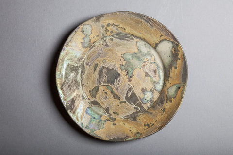Raku and Luster ware Small gold swirl plate #6