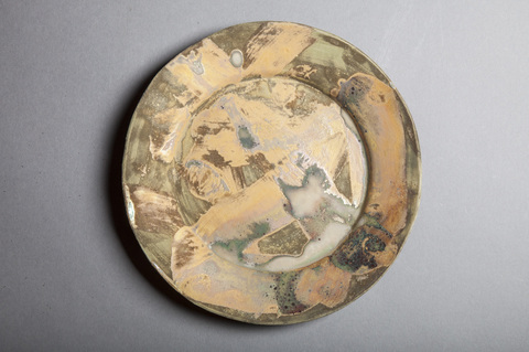 Raku and Luster ware Small gold swirl plate 1