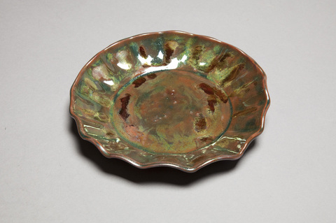 Raku, Pit Fire and Luster ware Green luster scallop plate