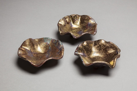 Raku and Luster ware Gold luster stackables detail