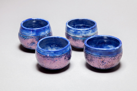 Raku and Luster ware Blue luster chawan tea bowls, view 2