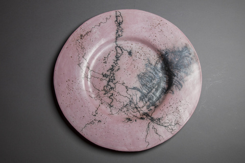 Platters and trays Pink horsehair and feather round platter