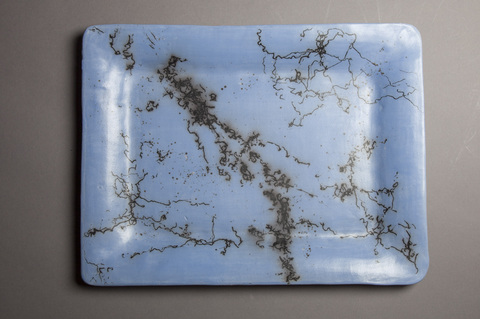 Platters and trays Blue horsehair and feather platter