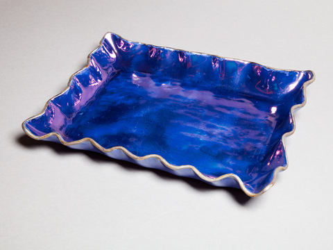 Raku, Pit Fire and Luster ware Antique blue scalloped rectangular tray