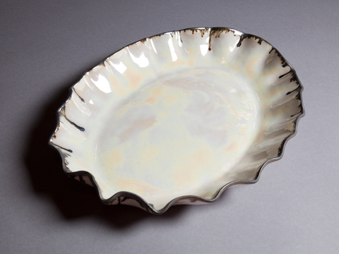 Raku, Pit Fire and Luster ware Opal Luster Scalloped Oval Tray with Antique Gold Rim
