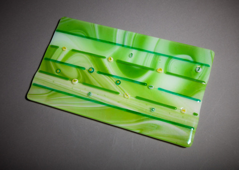 Glass Ware Green and white swirl and mille fiori flower fused glass tray