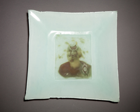 Experiments in fused Glass Ghost Plate, fused glass collodion ambrotype upcycled fine art