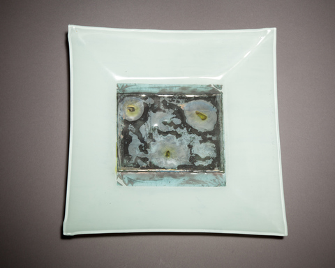 Experiments in fused Glass Fused glass art, Title Camera Chimera 2, Glass ambrotype, Metal leaf artwork, Upcycled window glass, Square glass tray, Recycled found art