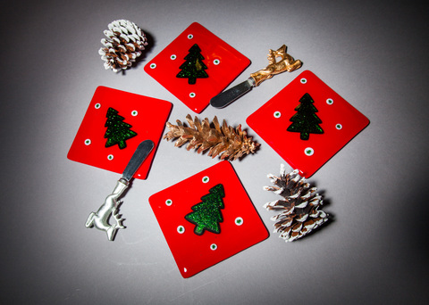 Glass Ware Holiday coaster set