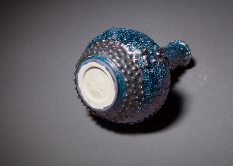 Raku and Luster ware Blue Luster Reef Vase, detail