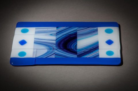 Glass Ware Blue and white patterned flat fused glass serving tray for desserts, snacks, cheese
