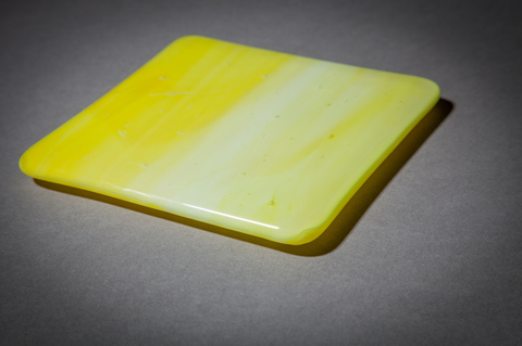 Glass Ware Yellow fused glass coaster set