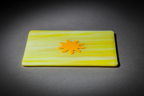 Glass Ware Yellow sun fused glass flat serving cheese, snack and dessert tray