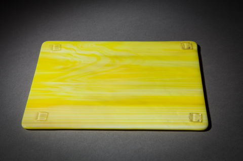 Glass Ware Yellow sun fused glass flat serving cheese, snack and dessert tray, detail