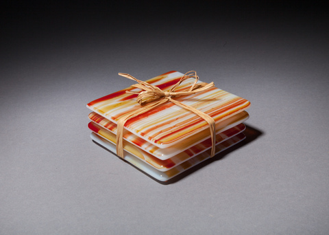 Glass Ware Sedona amber fused glass coaster set