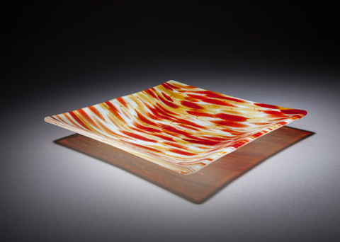 Glass Ware Sedona amber square fused glass tray, detail