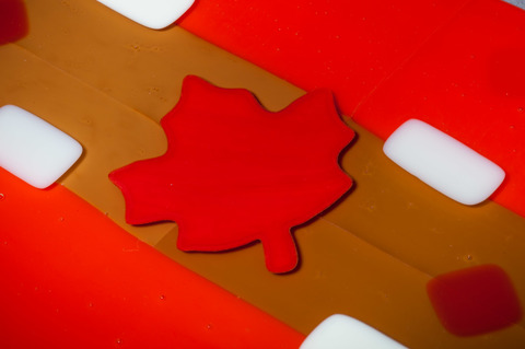 Glass Ware Red Maple leaf, brown, white and red fused glass cheese, dessert and snack tray, detail