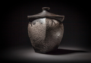 Naked Raku Faceted Jar