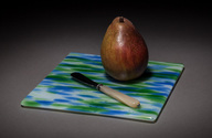 "Blue green and white ""water"" fused glass  flat snack/cheese tray on rubber feet"