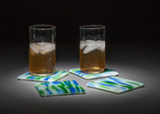 "Blue green and white ""water"" glass coasters, set of 4"