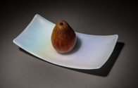 Satin matte rainbow white curved glass tray