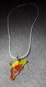 "Handmade Orange and Yellow Fused Dichroic Glass ""Pizza"" Pendant Necklace on silver plate bail one of a kind hand-cut, kiln-fired, 1 in stock"