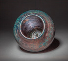 Basket textured copper blue and red vessel