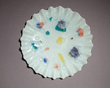 Recycled fused glass Confetti Plate, Scallop shape, Opaque glass, Decorative wall hanging, Home decor plate, Upcyled window glass.