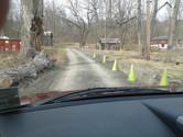 Cones to guide the way to and from the studio.