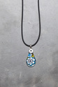 Blue daisy teardrop Mille Fiori pendant necklace