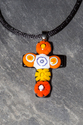 Mulitcolored orange fused glass crucifix pendant necklace