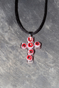 Red and white flower fused glass crucifix pendant necklace