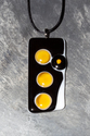 Yellow, black and white large fused glass pendant necklace