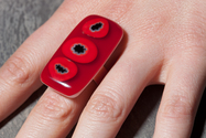 Red and black dot fused glass ring