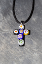 Murano glass crucifix pendant necklace