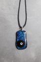 Peacock blue black dot pendant necklace