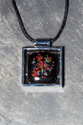 Square black sparkle inset pendant necklace