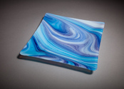 Fused glass tray, Purple and Blue swirl, Square serving plate, One of a kind party tray, Square glass dinner plate