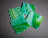Green swirl coaster set