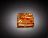 Red maple leaf, brown and white square fused glass coaster set